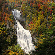 Whitewater Falls With Fall Leaves - North Carolina Waterfalls Series Poster