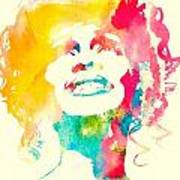 Whitney Houston Watercolor Canvas Poster