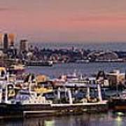 Wider Seattle Skyline And Rainier At Sunset From Magnolia Poster