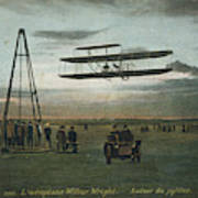 Wilbur Wright Rounds A Pylon Poster
