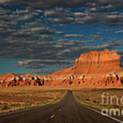 Wild Horse Butte And Road Goblin Valley Utah Poster