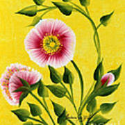 Wild Roses On Yellow Poster