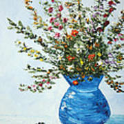 Wildflowers In A Blue Vase Poster