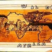 Wildlife Africa- Botswana  Safari Wood Pyrography Fine Art Poster