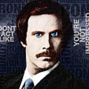 Will Ferrell Anchorman The Legend Of Ron Burgundy Words Color Poster