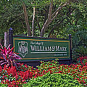 William And Mary Welcome Sign Poster