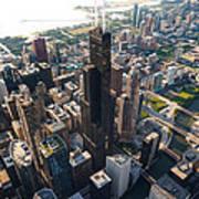 Willis Tower Chicago Aloft Poster by Steve Gadomski