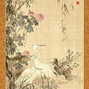 Willow And Herons Poster