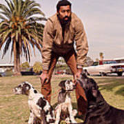 Wilt Chamberlain With Dogs Poster