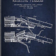 Winchester Firearm Patent Drawing From 1877 - Navy Blue Poster
