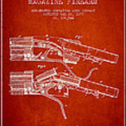 Winchester Firearm Patent Drawing From 1877 - Red Poster