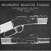 Winchester Firearm Patent Drawing From 1888- Dark Poster