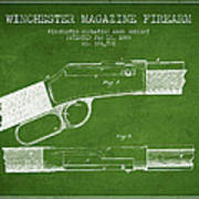 Winchester Firearm Patent Drawing From 1888- Green Poster