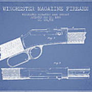 Winchester Firearm Patent Drawing From 1888- Light Blue Poster