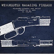 Winchester Firearm Patent Drawing From 1888- Navy Blue Poster