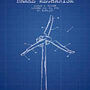 Wind Generator Break Mechanism Patent From 1990 - Blueprint Poster