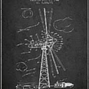 Wind Turbine Patent From 1944 - Dark Poster