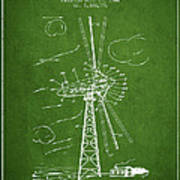 Wind Turbine Patent From 1944 - Green Poster