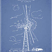 Wind Turbine Patent From 1944 - Light Blue Poster