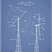 Wind Turbine Rotor Blade Patent From 1995 - Light Blue Poster