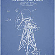 Wind Turbine Speed Control Patent From 1994 - Light Blue Poster