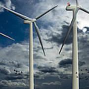Wind Turbines Blue Sky Poster