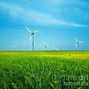 Wind Turbines On Green Field Poster