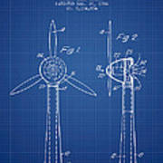 Wind Turbines Patent From 1984 - Blueprint Poster
