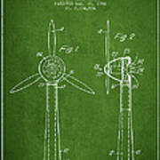 Wind Turbines Patent From 1984 - Green Poster