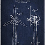 Wind Turbines Patent From 1984 - Navy Blue Poster