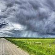 Windmill And Country Road With Storm Poster