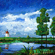Windmill, Holland, 2006 Oil On Board Poster