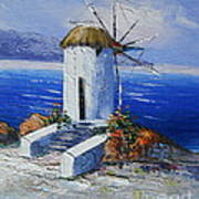 Windmill In Greece Poster