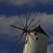 Windmill On Santorini Island  Poster