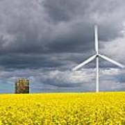 Windmill With Motion Blur In Rapeseed Field Poster
