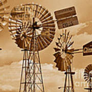 Windmills In Sepia Poster