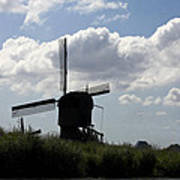 Windmills Silhouette Poster