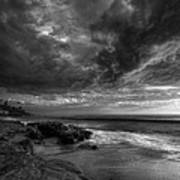 Windnsea Stormy Sky Bw Poster by Peter Tellone
