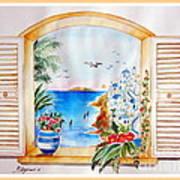 Window On Santorini Poster