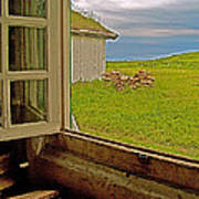Window On Sod-covered Roof In Louisbourg Living History Museum-1744-ns Poster