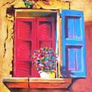 Window On The Rue In Roussillon France Poster