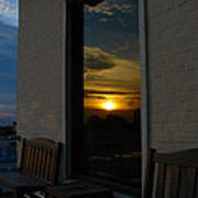 Awesome Sunset Window Reflections Downtown Charleson Sc Poster