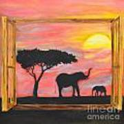 Window To African Sunrise With Elephants Into The Sun. Poster
