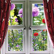 Window View Onto Wild Summer Garden Poster