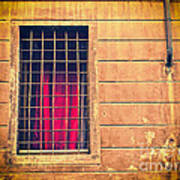 Window With Grate And Red Curtain Poster by Silvia Ganora