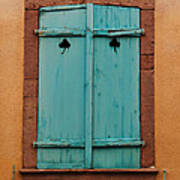 Window With Turqouise Shutters In Colmar France Poster