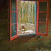 Window With View Abandoned Elkmont Log Cabin Autumn Poster