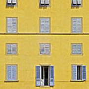 Windows Of Florence Against A Faded Yellow Plaster Wall Poster