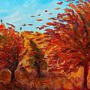 Windy Autumn Day Poster