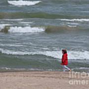 Windy Beach Walk Poster